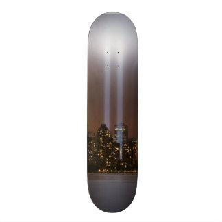 World trade center tribute in light in New York. Skateboard