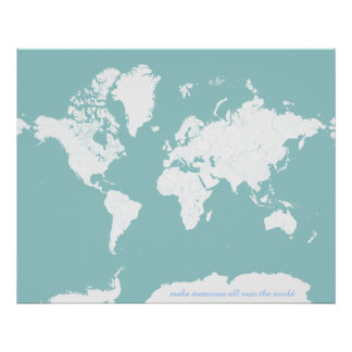 World Travel Map - Customizable Background Color Poster