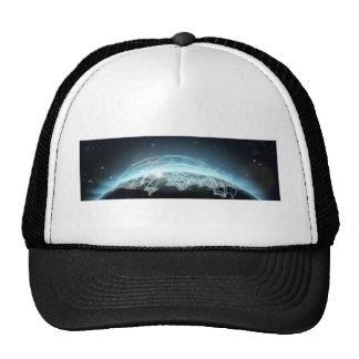World travel or communications map trucker hats