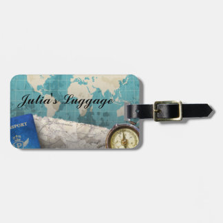 World Travel Papers, maps & Compass Luggage Tag