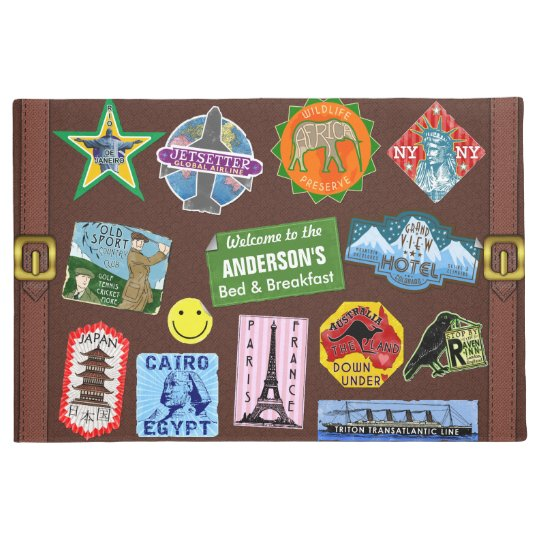 World Travel Vintage Luggage Sticker Suitcase Name Doormat