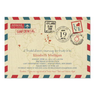 World Traveler Airmail   Bridal Shower 13 Cm X 18 Cm Invitation Card