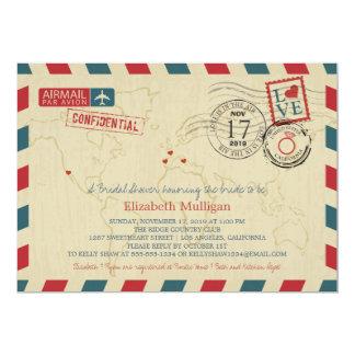 World Traveler Airmail   Bridal Shower Card