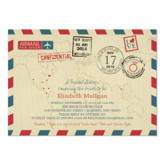 World Traveler Airmail | Bridal Shower Card