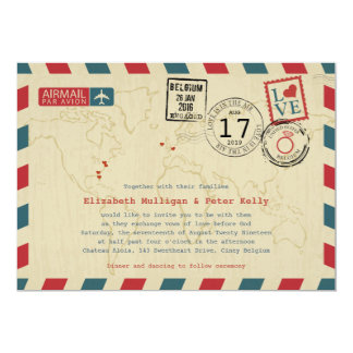 World Traveler Airmail | Wedding Card
