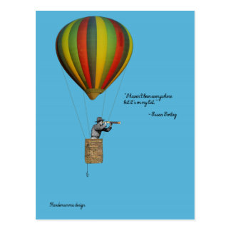 World traveler card with hot air balloon