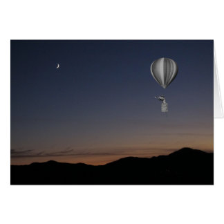 World traveler. Hot air balloon, sunset and moon Card