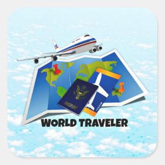 World Traveler - Map, Passport, and Tickets Square Sticker