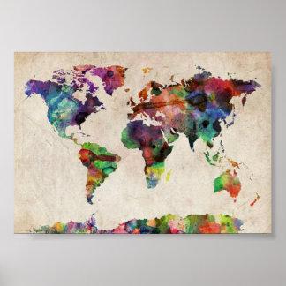 world traveler map vintage rustic poster print