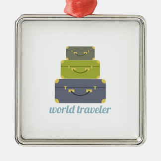 World Traveler Metal Ornament