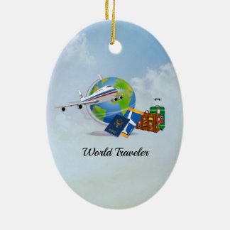 World Traveler, packed and ready to go Ceramic Ornament