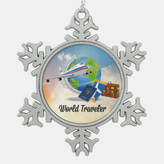 World Traveler--Packed and ready to go, design 2 Pewter Snowflake Decoration