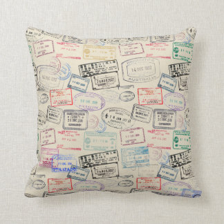 World Traveler Passport Stamp Pattern Throw Cushions