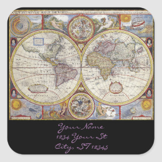 World Traveler Vintage Map Square Sticker