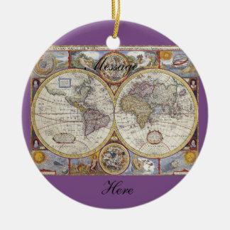 World Traveler Vintage Map Thunder_Cove Ceramic Ornament