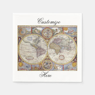 World Traveler Vintage Map Thunder_Cove Disposable Napkin