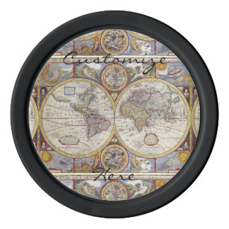 World Traveler Vintage Map Thunder_Cove Poker Chips