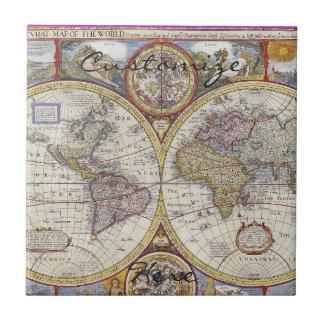 World Traveler Vintage Map Thunder_Cove Tile