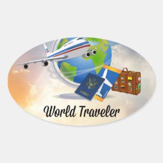 World Traveller, Design 2 Oval Sticker