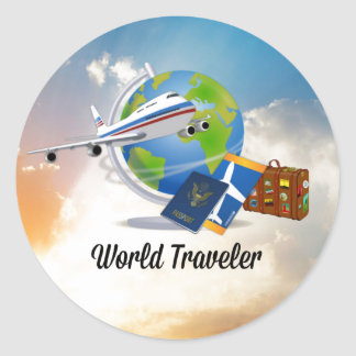 World Traveller, Packed and Ready to Go Classic Round Sticker
