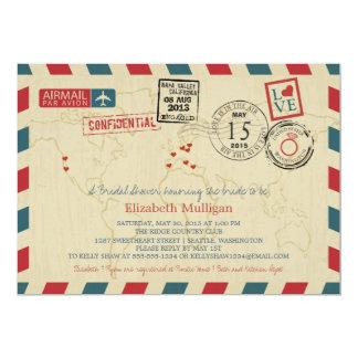 World Travler Airmail   Bridal Shower 5x7 Paper Invitation Card