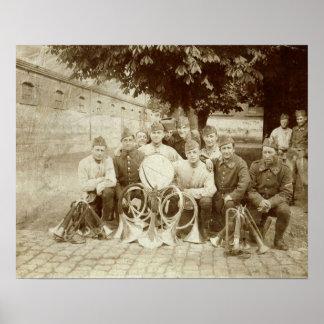 World War 1, French troops, bandsmen Poster