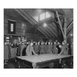 World War 1 YMCA Pool Hall, 1910s Poster