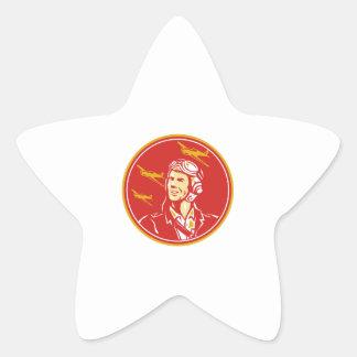 World War 2 Pilot Airman Fighter Plane Circle Retr Star Sticker
