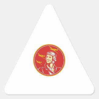 World War 2 Pilot Airman Fighter Plane Circle Retr Triangle Sticker