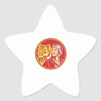 World War 2 Pilot Airman Tiger Circle Retro Star Sticker