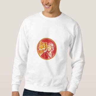 World War 2 Pilot Airman Tiger Circle Retro Sweatshirt