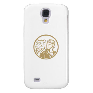 World War 2 Pilot Airman Tiger Gold Circle Retro Galaxy S4 Cover