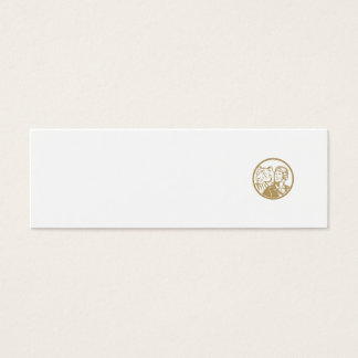 World War 2 Pilot Airman Tiger Gold Circle Retro Mini Business Card