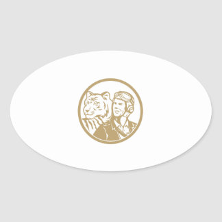 World War 2 Pilot Airman Tiger Gold Circle Retro Oval Sticker