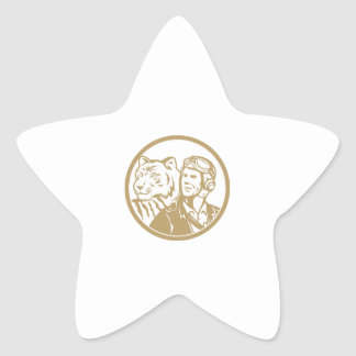 World War 2 Pilot Airman Tiger Gold Circle Retro Star Sticker