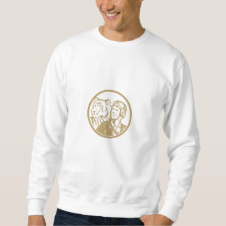 World War 2 Pilot Airman Tiger Gold Circle Retro Sweatshirt