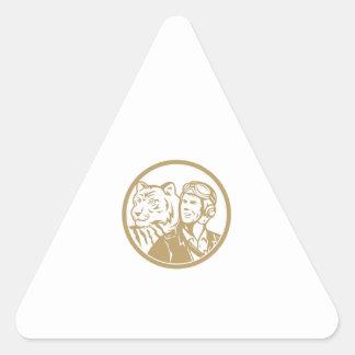 World War 2 Pilot Airman Tiger Gold Circle Retro Triangle Sticker