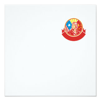 World War 2 Pilot USA China Flag Circle Retro 13 Cm X 13 Cm Square Invitation Card