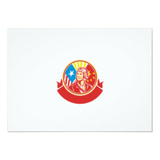 World War 2 Pilot USA China Flag Circle Retro 13 Cm X 18 Cm Invitation Card
