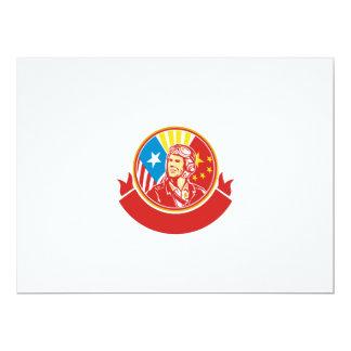 World War 2 Pilot USA China Flag Circle Retro 17 Cm X 22 Cm Invitation Card