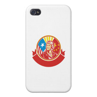 World War 2 Pilot USA China Flag Circle Retro Case For iPhone 4
