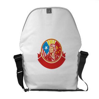 World War 2 Pilot USA China Flag Circle Retro Courier Bags