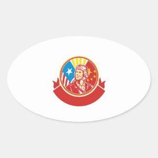 World War 2 Pilot USA China Flag Circle Retro Oval Sticker