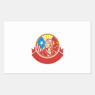 World War 2 Pilot USA China Flag Circle Retro Rectangular Sticker