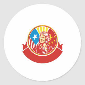 World War 2 Pilot USA China Flag Circle Retro Round Sticker