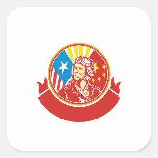 World War 2 Pilot USA China Flag Circle Retro Square Sticker