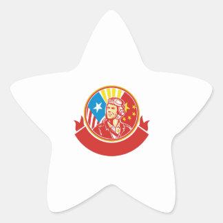 World War 2 Pilot USA China Flag Circle Retro Star Sticker