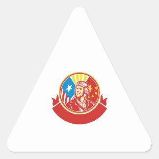 World War 2 Pilot USA China Flag Circle Retro Triangle Sticker