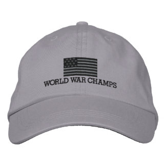 World War Champs - Grey and Black American Flag Embroidered Baseball Caps