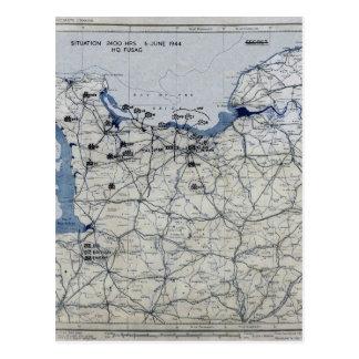 World War II D-Day Map June 6, 1944 Postcard